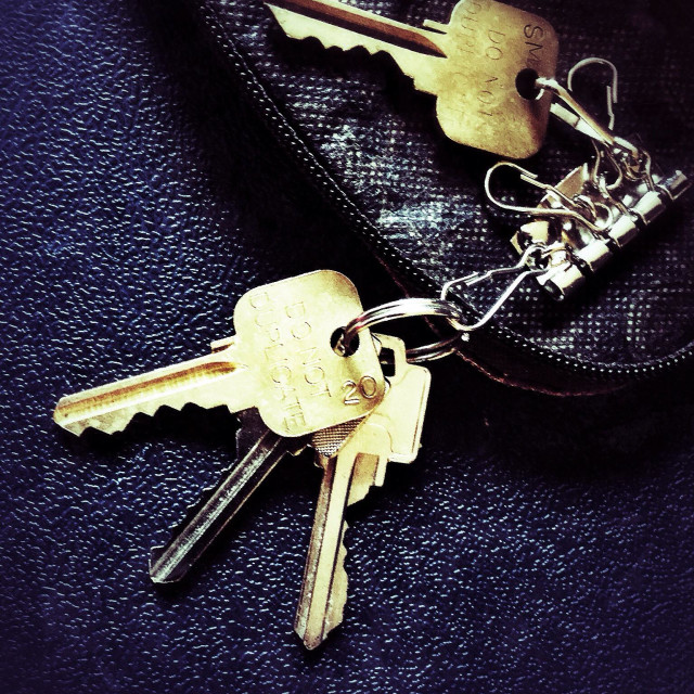 """Keys on a key holder"" stock image"