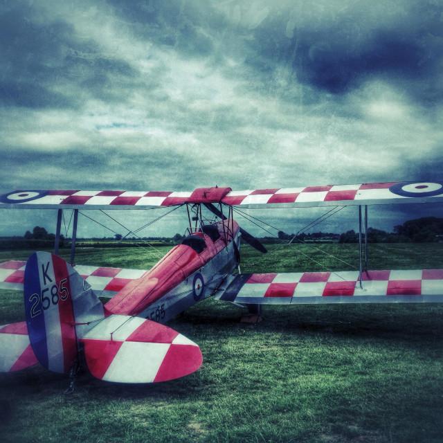 """De Havilland Tiger Moth biplane at Old Warden airfield, Bedfordshire, England."" stock image"