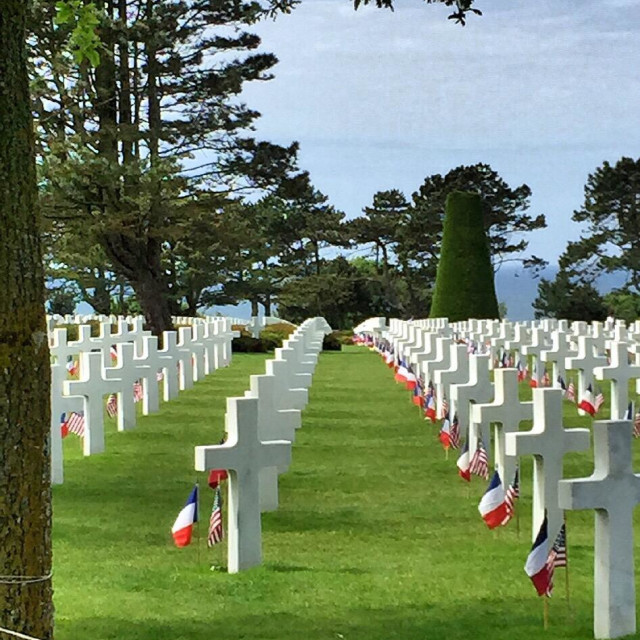 """Headstones of American soldiers at Normandy American Cemetery"" stock image"