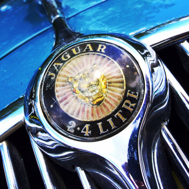 """Old Jaguar 2.4 Litre grill badge"" stock image"
