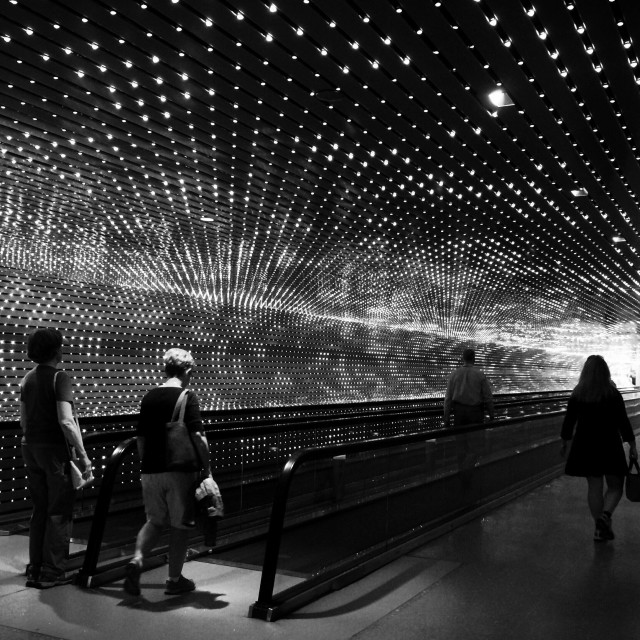 """""""""""Multiverse"""" by Leo Villareal, moving walkway- Smithsonian National Gallery of Art"""" stock image"""