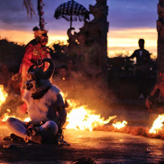 """""""White Monkey General Hanoman being tied in a Kecak dance performance at Uluwatu, Bali"""" stock image"""
