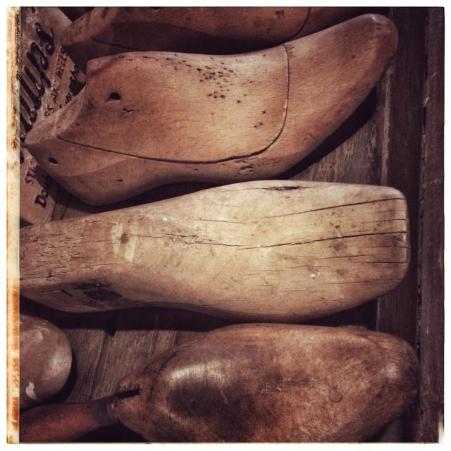 """""""Wooden lasts used by shoemakers."""" stock image"""