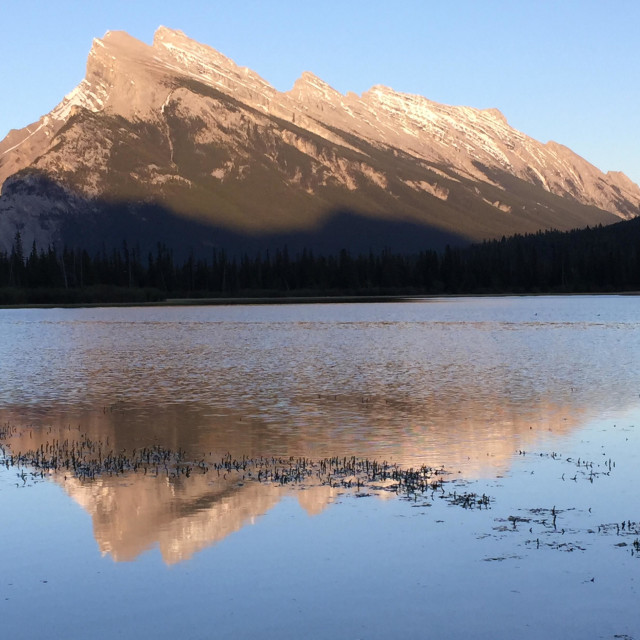 """Mount Rundle at Vermillion Lakes"" stock image"