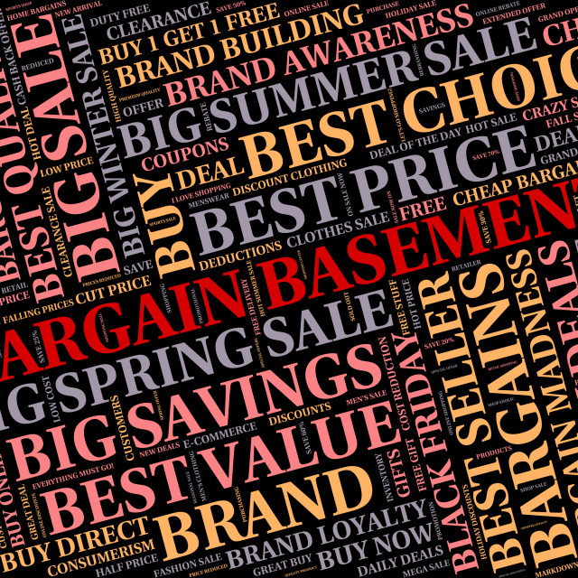 """""""Bargain Basement Shows Retail Discounts And Words"""" stock image"""