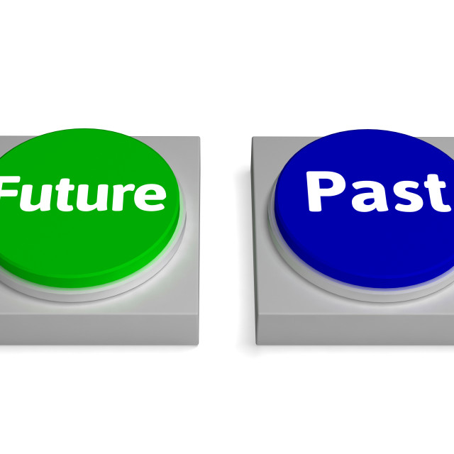 """""""Future Past Buttons Shows Destiny Or History"""" stock image"""