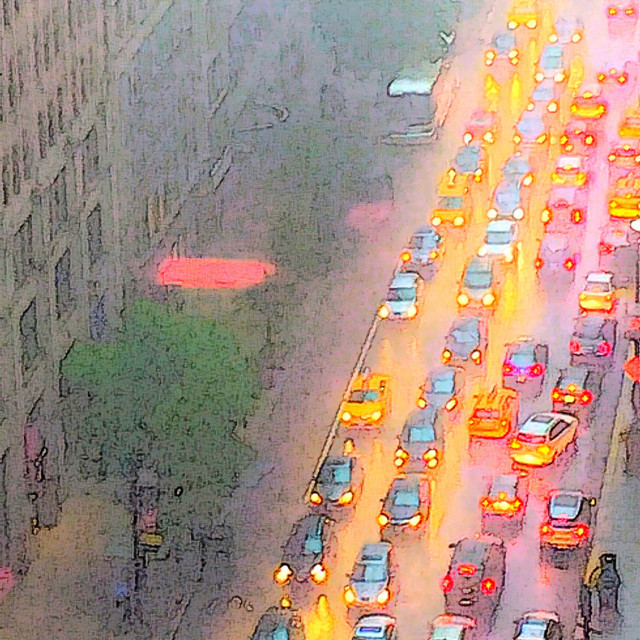 """Traffic Gridlock in Rainstorm, NYC"" stock image"