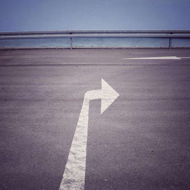"""Direction arrow road marking"" stock image"