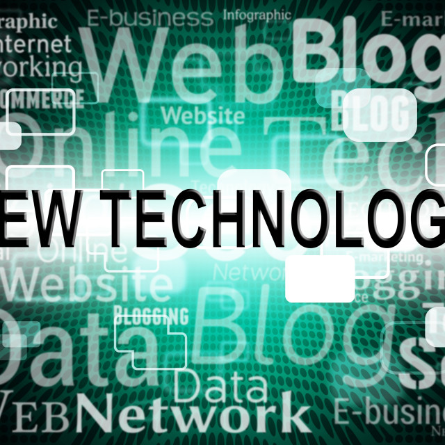 """""""New Technology Indicates Announcement Breaking And Headline"""" stock image"""