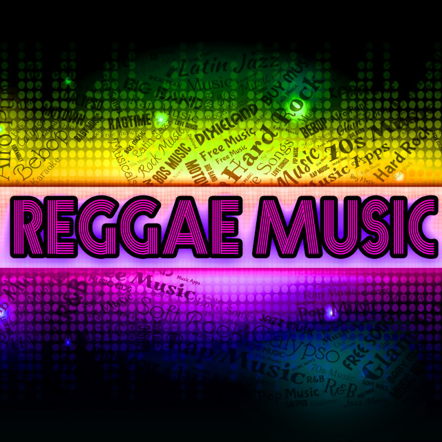 """Reggae Music Represents Sound Tracks And Acoustic"" stock image"