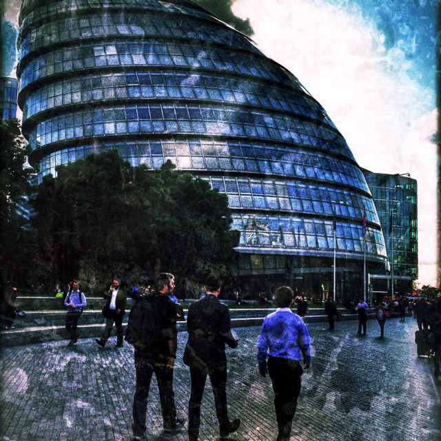 """""""View of City Hall, headquarters of the Greater London Authority (GLA), Queen's Walk, More London, Southwark, London Borough of Southwark, Central London, England, United Kingdom, Europe"""" stock image"""