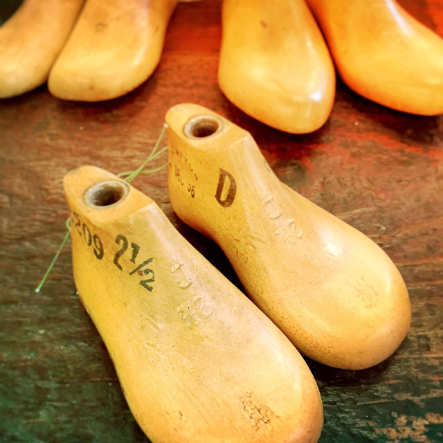"""""""Wooden retro Shoe forms in antique store"""" stock image"""