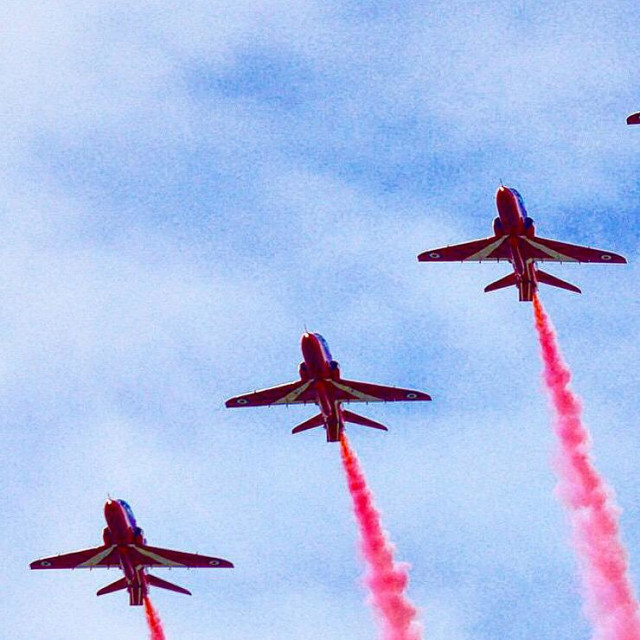 """""""Red Arrows sky"""" stock image"""