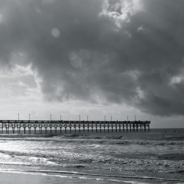 """""""Another picture from my autistic son of the pier at Topsail Beach, NC."""" stock image"""