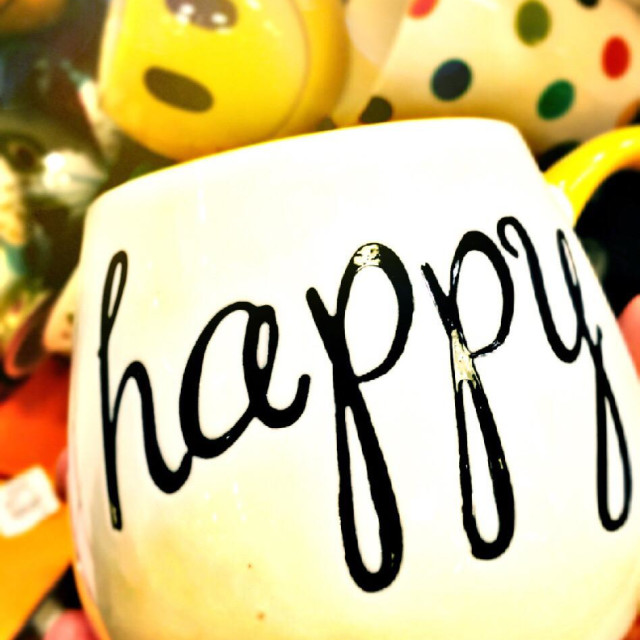"""Happy script coffee mug"" stock image"