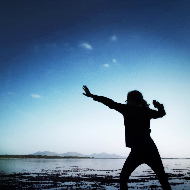 """""""Young girl preparing to throw a stone by Menai Strait on Anglesey"""" stock image"""