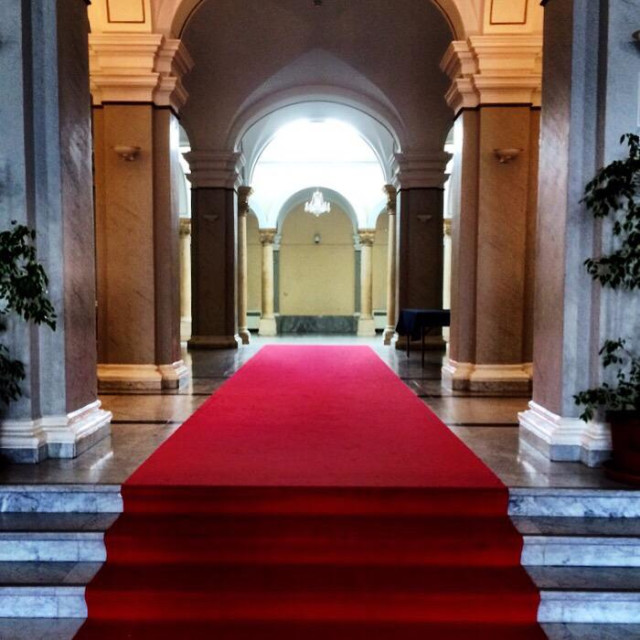 """Red carpet, Zagreb, Croatia, Balkans"" stock image"
