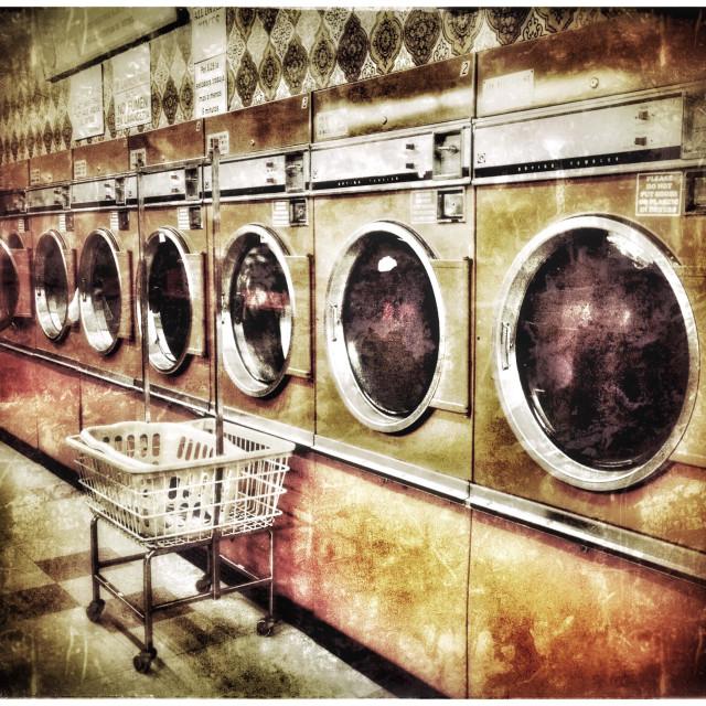 """Laundromat In Retro Style Effect"" stock image"