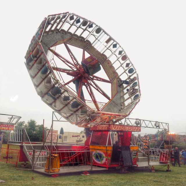 """""""Wipe out fairground ride, Alresford, Hampshire, England, United Kingdom"""" stock image"""