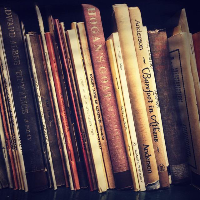 """Vintage scripts on bookshelf"" stock image"