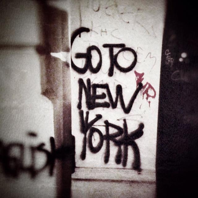 """""""Go To New York Graffiti in Berlin Kreuzberg against Gentrification"""" stock image"""
