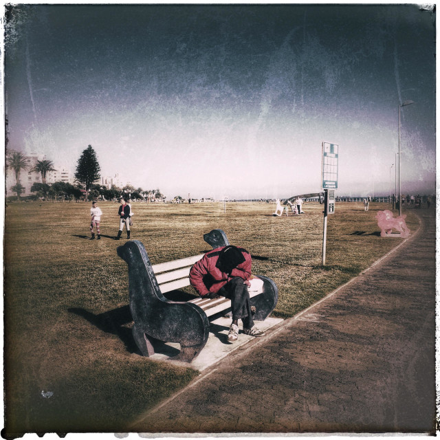"""""""Man sitting on bench along the Seapoint Promenade ."""" stock image"""