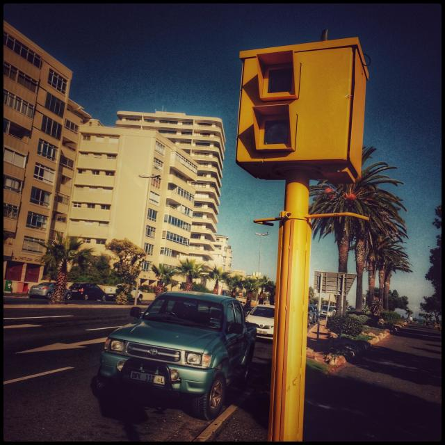 """""""Speed camera in Seapoint , Cape Town, South Africa."""" stock image"""