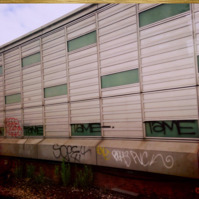"""""""Graffitied building by train track"""" stock image"""