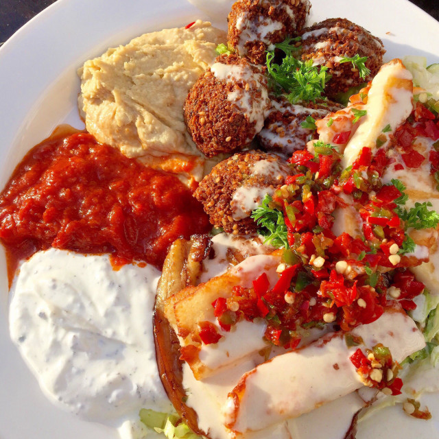 """Meze plate with falafel, haloumi, hummus and chili"" stock image"