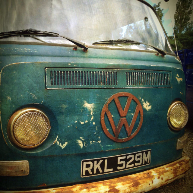 """""""A rusty lowered VW Campervan"""" stock image"""