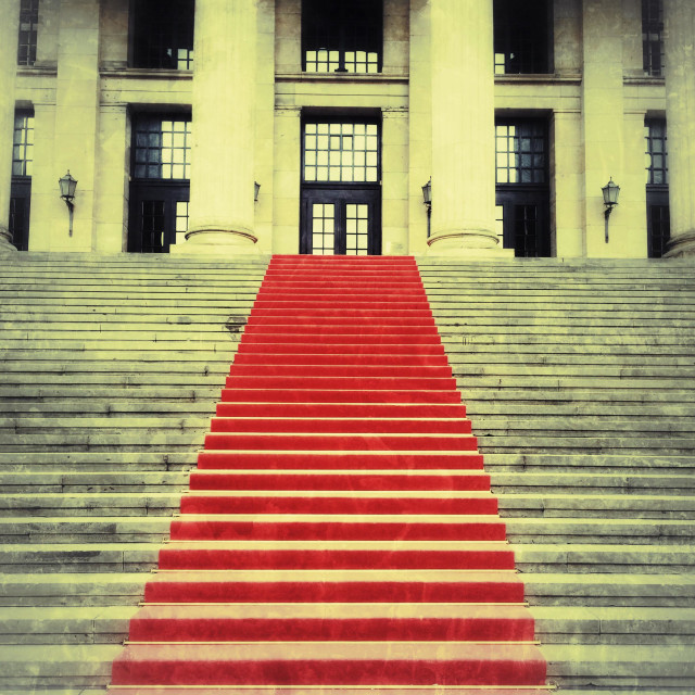 """""""Red carpet on the castle stairs"""" stock image"""