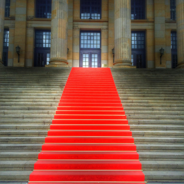 """""""Red carpet on the stairs"""" stock image"""