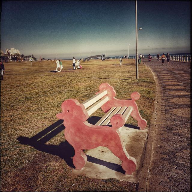 """""""Red poodle bench along the Seapoint Promenade , Cape Town, South Africa."""" stock image"""