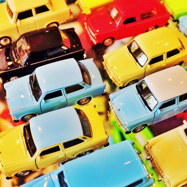 """""""Brightly coloured toy car selection"""" stock image"""