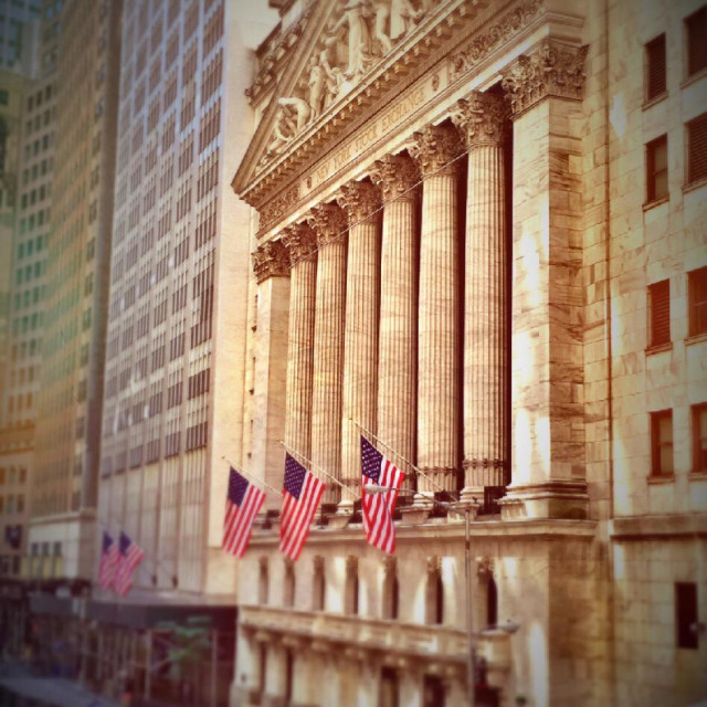 """""""Façade of the New York Stock Exchange in New York City, USA"""" stock image"""