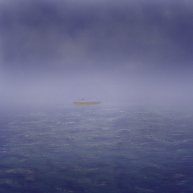 """""""Freighter in fog"""" stock image"""