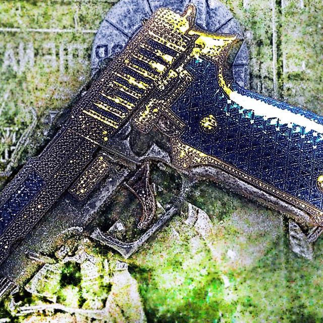 """Blue pistol"" stock image"