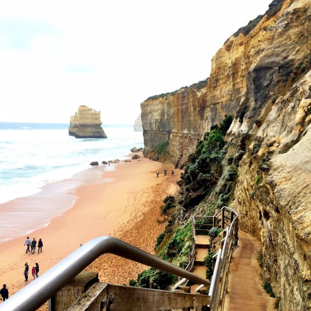 """Gibson Steps, Twelve Apostles, Port Campbell National Park, Great Ocean Road, Victoria, Australia"" stock image"