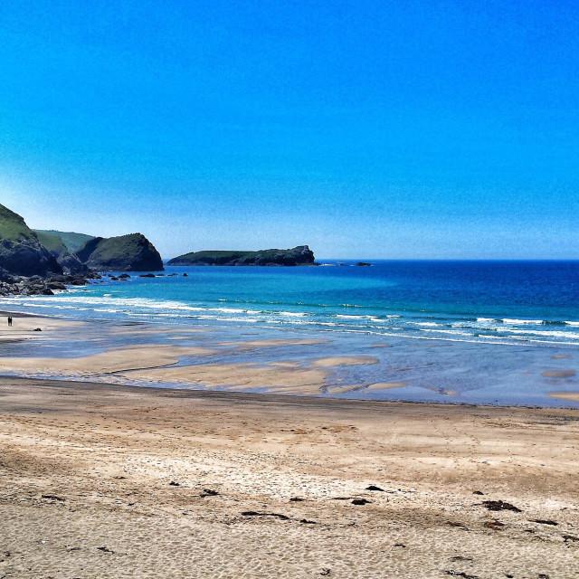 """Polurrian Cove beach, Mullion, The Lizard, Cornwall UK in summer"" stock image"