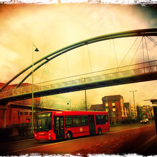 """Dartford footbridge and bus, South East England, United Kingdom, Europe"" stock image"