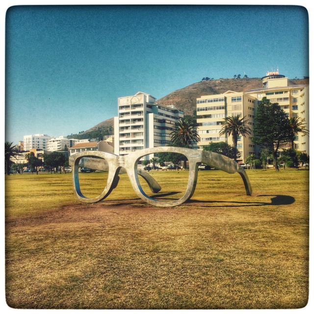 """""""Giant pair of Ray Bans that form part of the interactive installation art along the Seapoint promenade."""" stock image"""