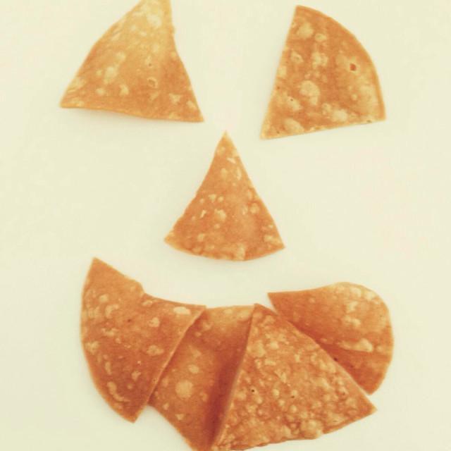"""""""Homemade Tortilla smiley face"""" stock image"""