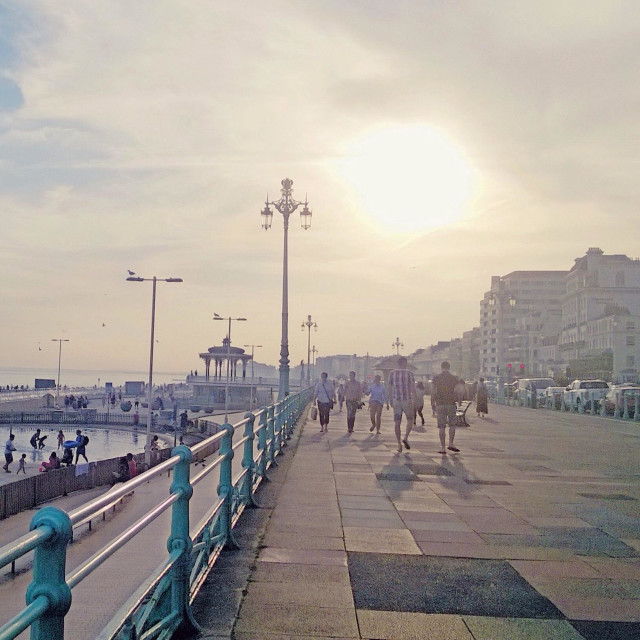 """""""Brighton seafront promenade on Wednesday 1 July 2015, the hottest July day recorded in the UK."""" stock image"""