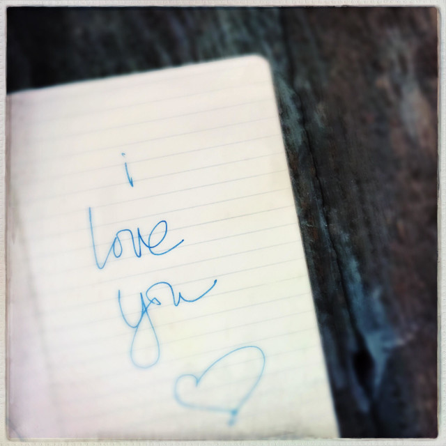 """""""I Love You Written on Notebook Paper"""" stock image"""