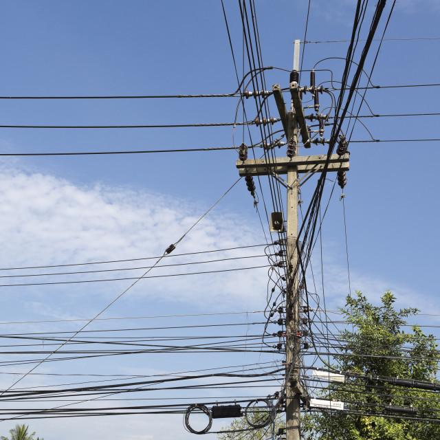 """Thai Power Lines"" stock image"