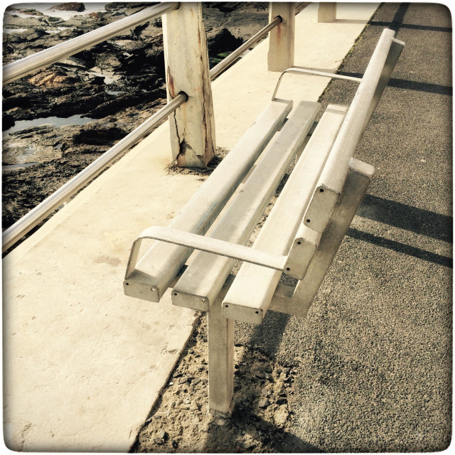 """""""Bench along the Seapoint promenade ."""" stock image"""