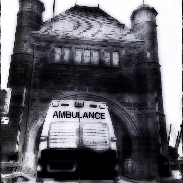 """Ambulance entering Blackwall Tunnel, South East London, England, United Kingdom, Europe"" stock image"