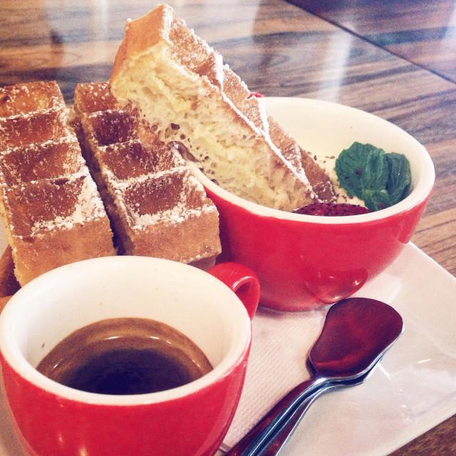 """Coffee with Waffle"" stock image"
