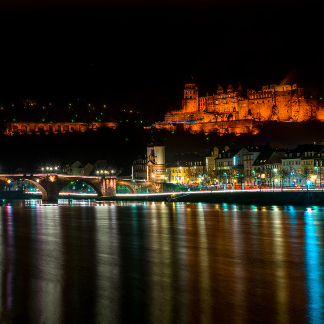 """Heidelberg night view"" stock image"