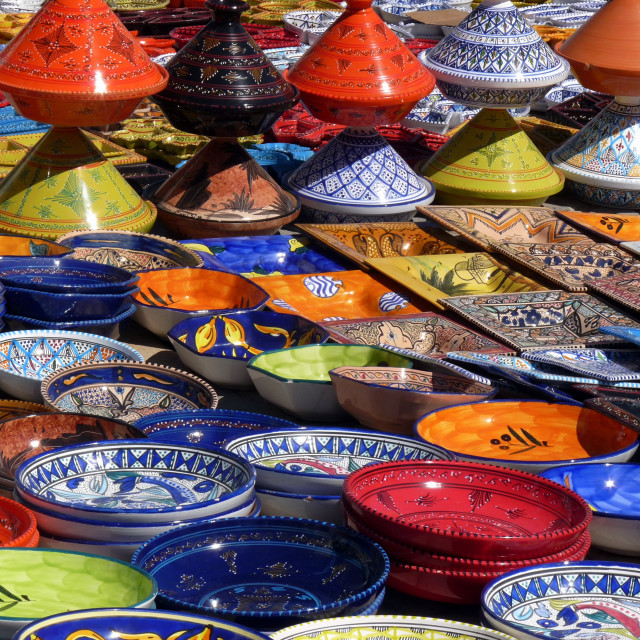 """Ceramics for sale at Sousse medina, Tunisia."" stock image"